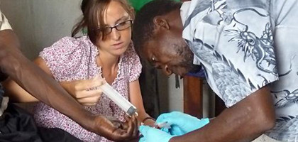 Volunteer helping to imrpove medical care to rural communities in Malawi