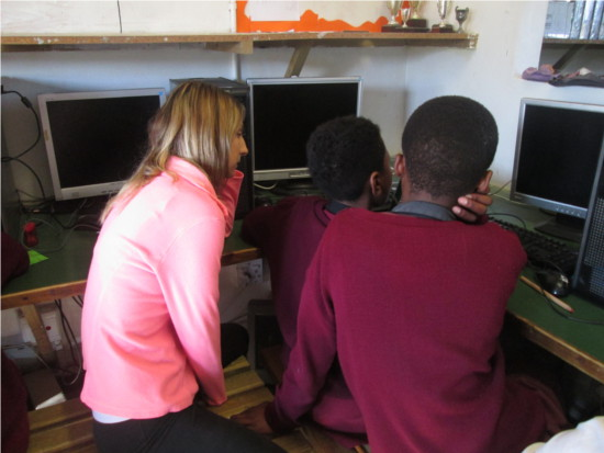 Volunteers teaching English and computer skills in South Africa
